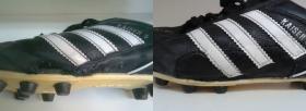 naprawa wyrwanej skóry z boku w korkach piłkarskich