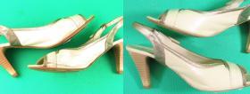 renowacja koloru w jasnych sandałkach
