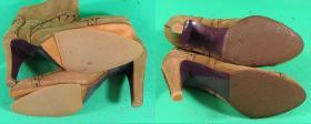 naprawa odpadniętych zelówek wykonanych przez innego szewca w botkach Pinko