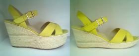 skracanie platform w limonkowych sandałkach