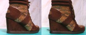 wymiana fleków w butach na koturnie