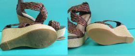 Wykonanie nowych spodów oraz fleków w butach na koturnie
