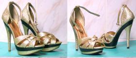 skracanie platform w złotych sandałkach
