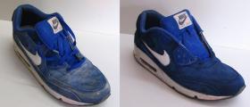 farbowanie granatowych butów zamszowych Nike wypranych w pralce
