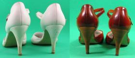obcasy w przefarbowanych butach ślubnych Ryłko