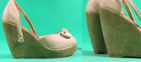 wykonanie fleków w nowych butach na koturnie