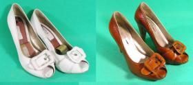 farbowanie białych sandałków na rudo-brązowy kolor