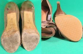 zabezpieczenie skózanych spodów w damskich sandałkach na obcasie